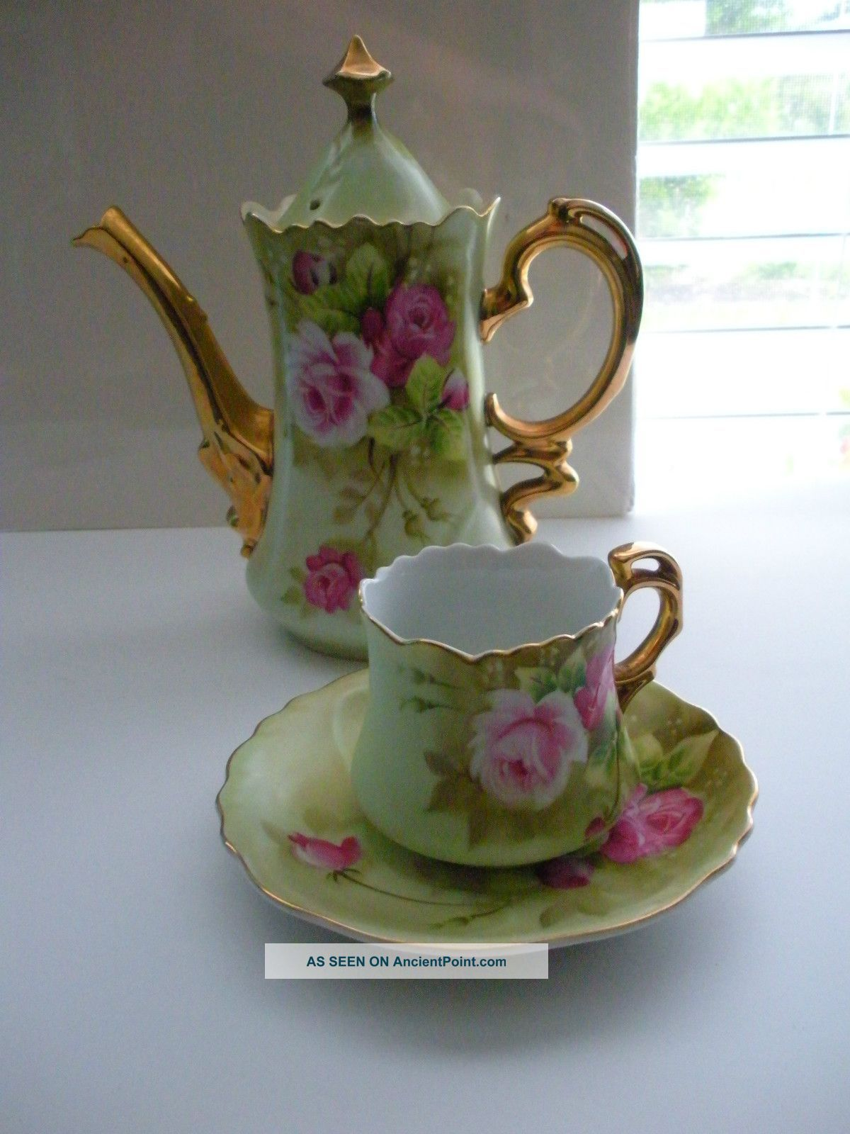 Lefton China Vintage Tea Pot Cup Saucer Hand Painted Green