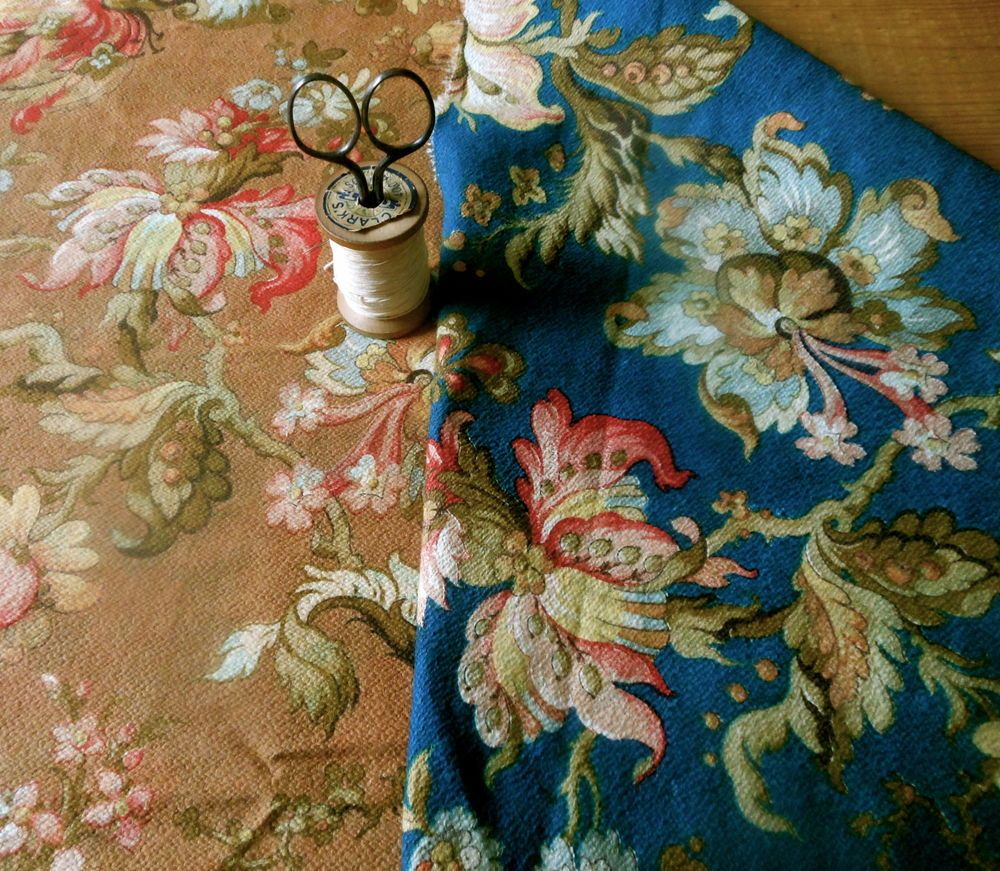 Antique French Jacobean Floral Fabric ~ 2 sided colors ~ Prussian Blue Copper