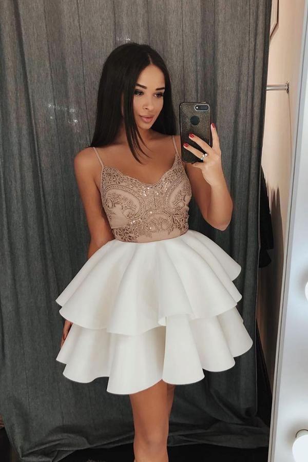 White lace short prom dress, white lace cocktail dress