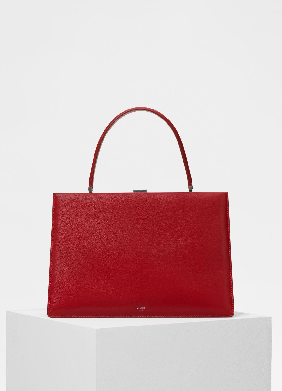 Céline - Medium Clasp handbag in pop red goatskin  46e0e739ab9a1