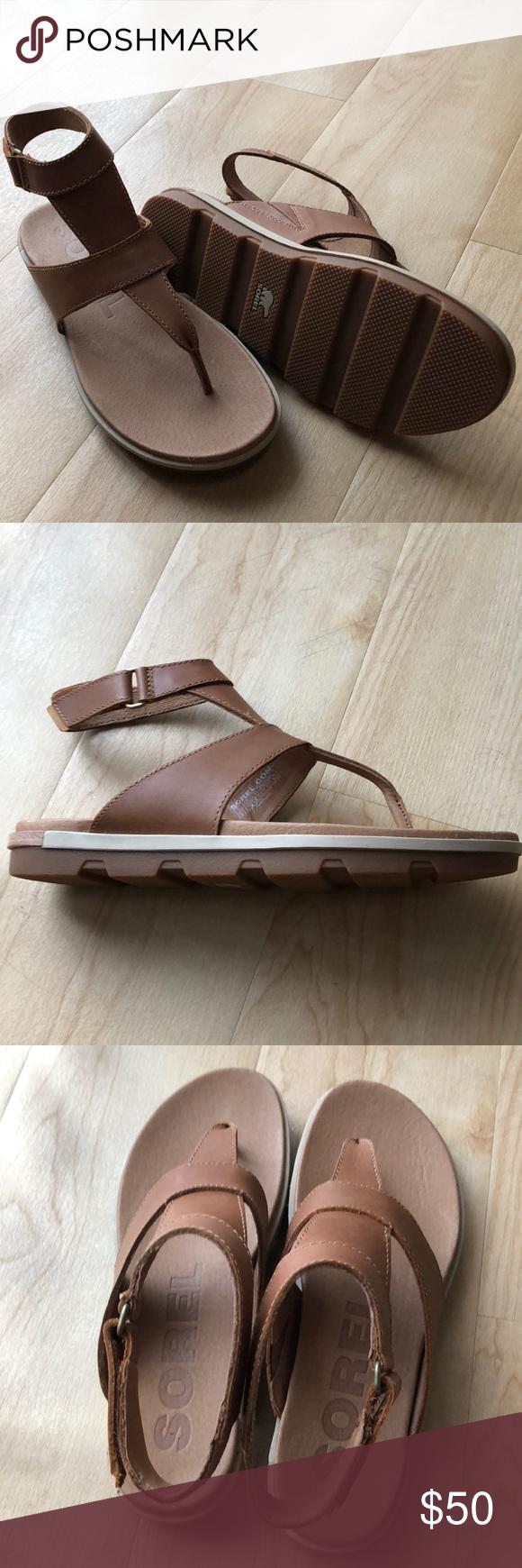 18d27bc7cc4f41 New Sorel Torpeda ankle strap sandals Never worn camel brown Sorel ...