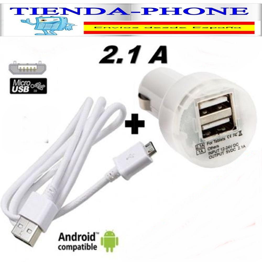 Detalles de CARGADOR COCHE BLANCO CABLE CON CABLE MICRO USB
