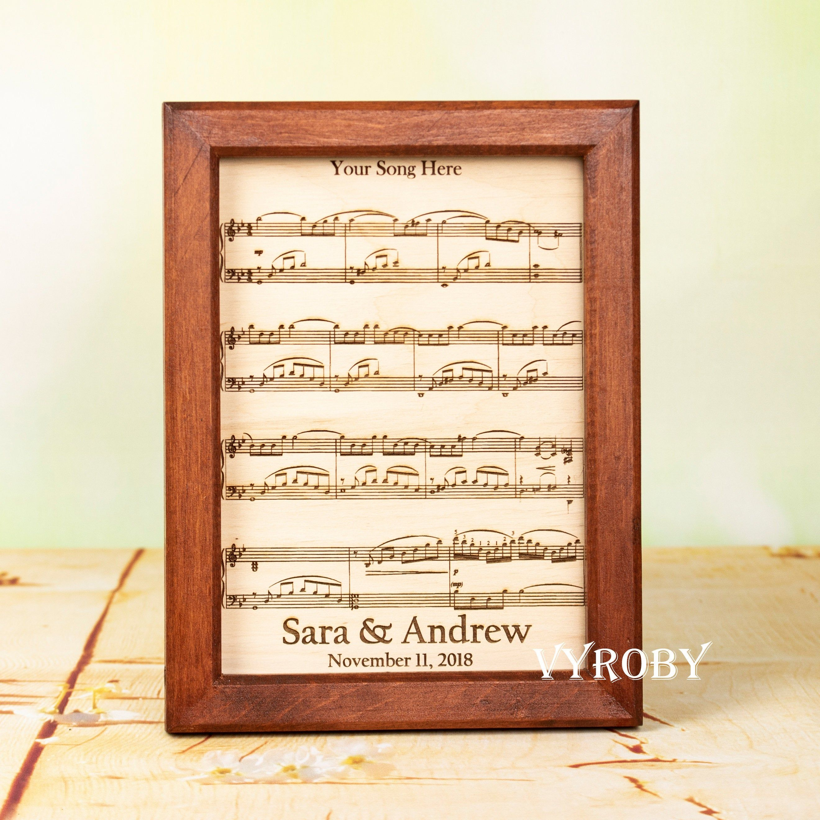 Fifth Wedding Anniversary Gift Ideas For Music Lovers Etsy Mens Anniversary Gifts Wood Anniversary Gift Song Lyric Gift Ideas