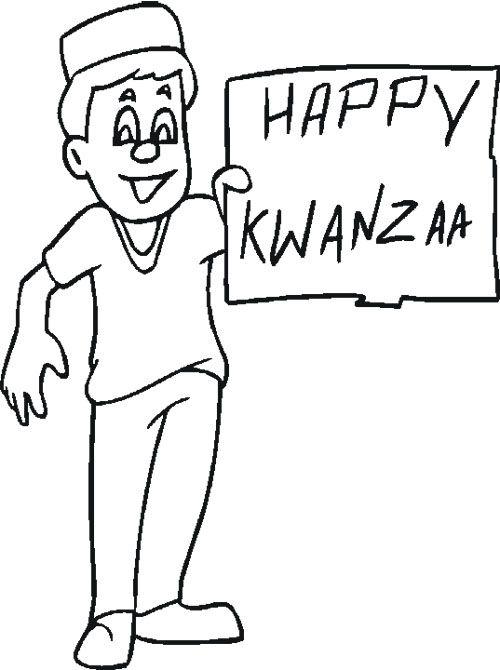 The Boy Happy Kwanzaa Holidays Coloring Page Happy Kwanzaa