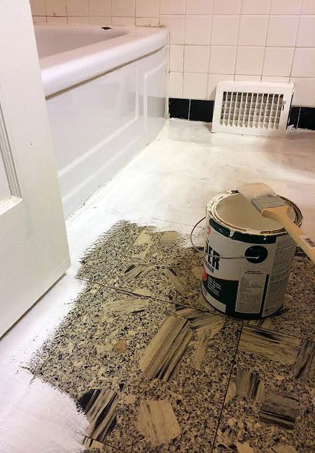 Diy bathroom makeover how to paint linoleum flooring and for Painted vinyl floor ideas
