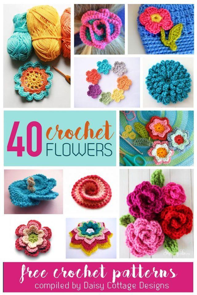 40 Free Flower Crochet Patterns (Daisy Cottage Designs)   Flores ...