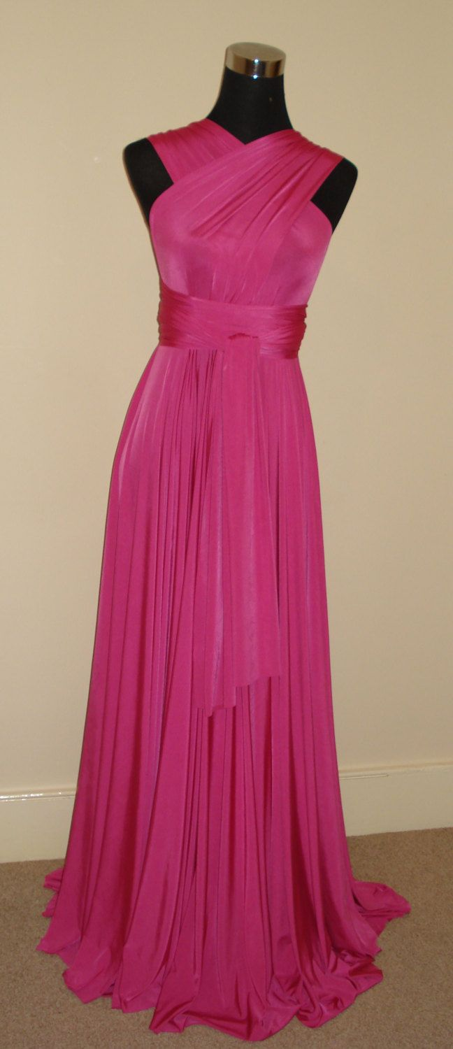 Cerise floor length convertible multiway infinity wrap bridesmaid ...