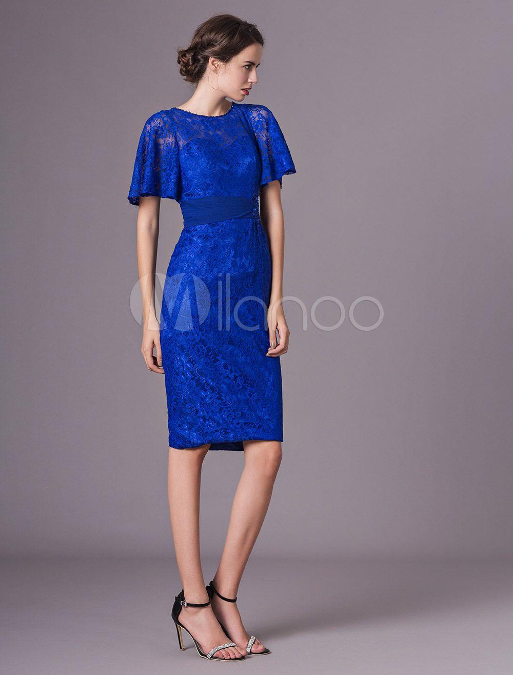 de5219a4e20 Mother Of The Bride Dresses Lace Short Royal Blue Cocktail Dress Sheath  Keyhole Knee Length Wedding Guest Dress  Short