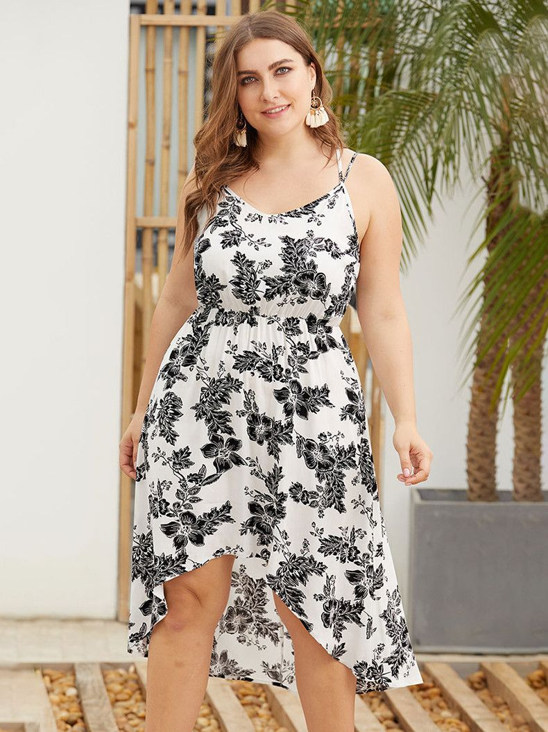 New Leslie S Refreshing Rayon Casual Dress With Double Straps Plus Size Fashion Plus Size Dress Dresses [ 1054 x 790 Pixel ]