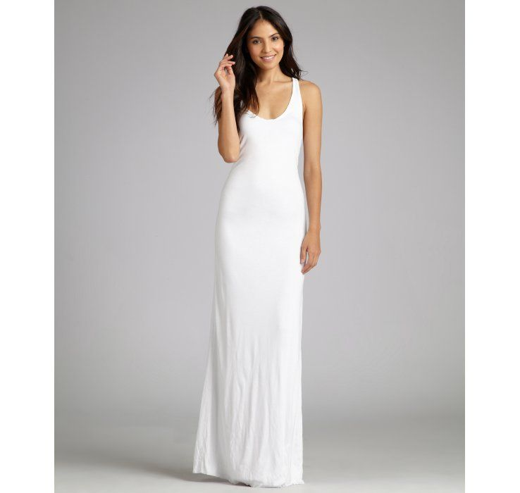 Helmut lang white jersey racerback tank maxi dress with