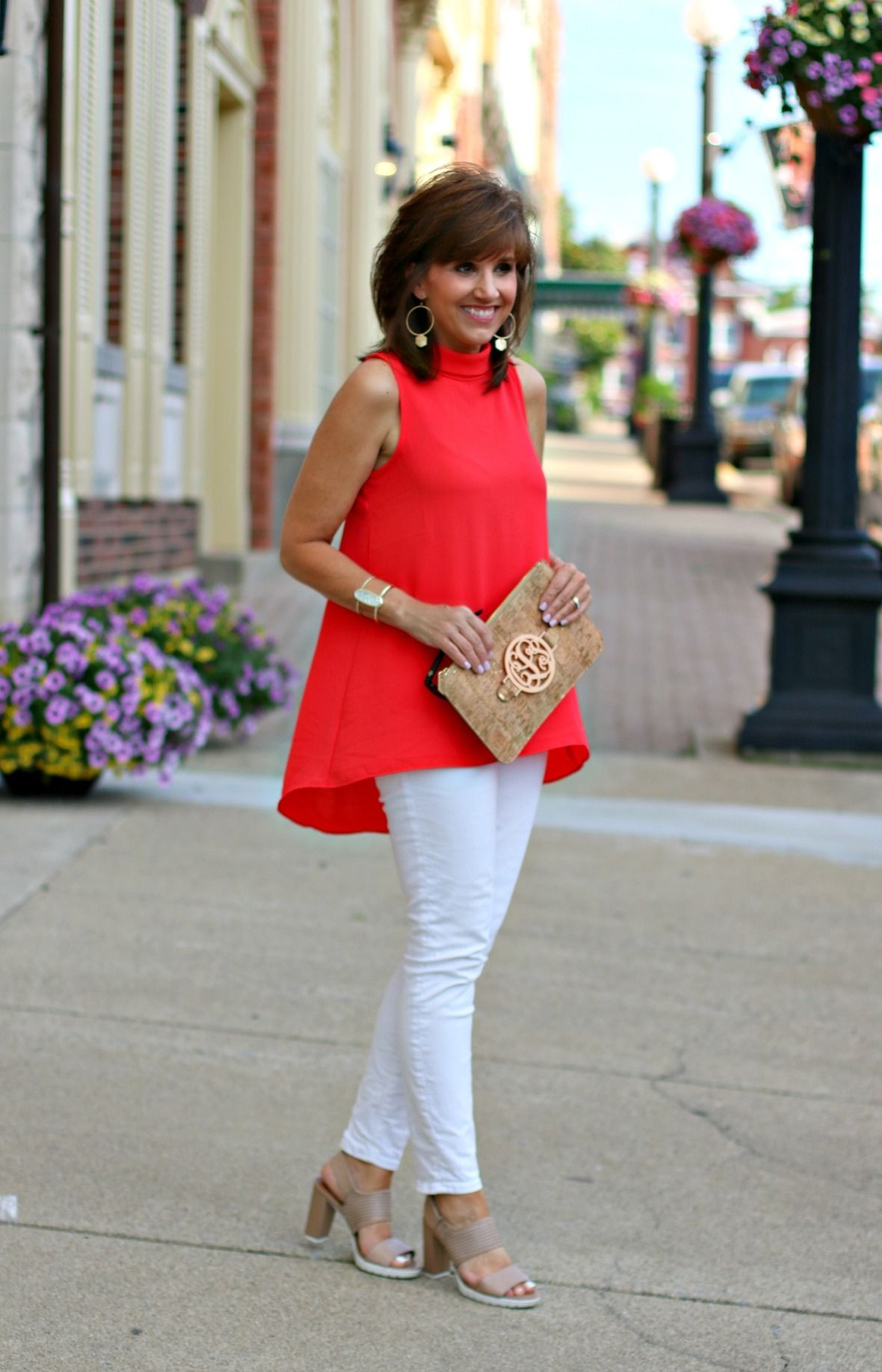 red top with white jeans-2