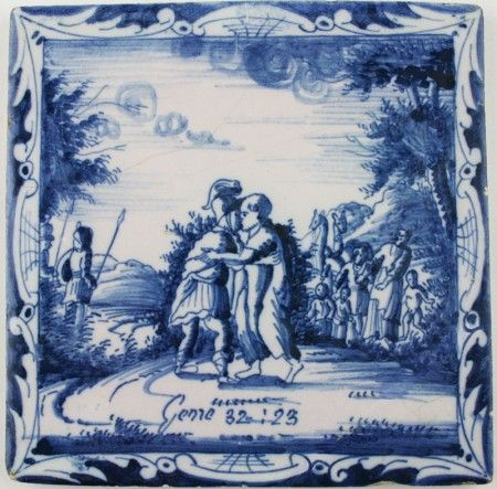Antique Dutch Delft tile in blue depicting Jacob wrestling, 18th century