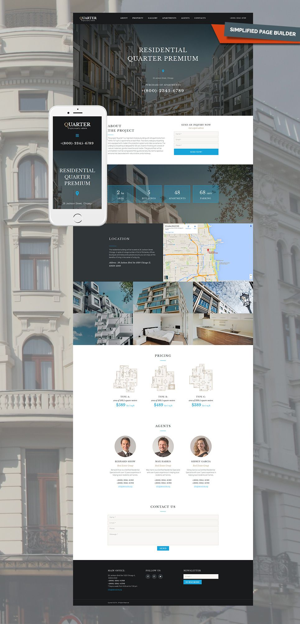 One Page Real Estate Website Templates