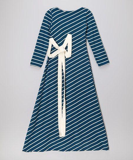 Teal & White Stripe Maxi Dress