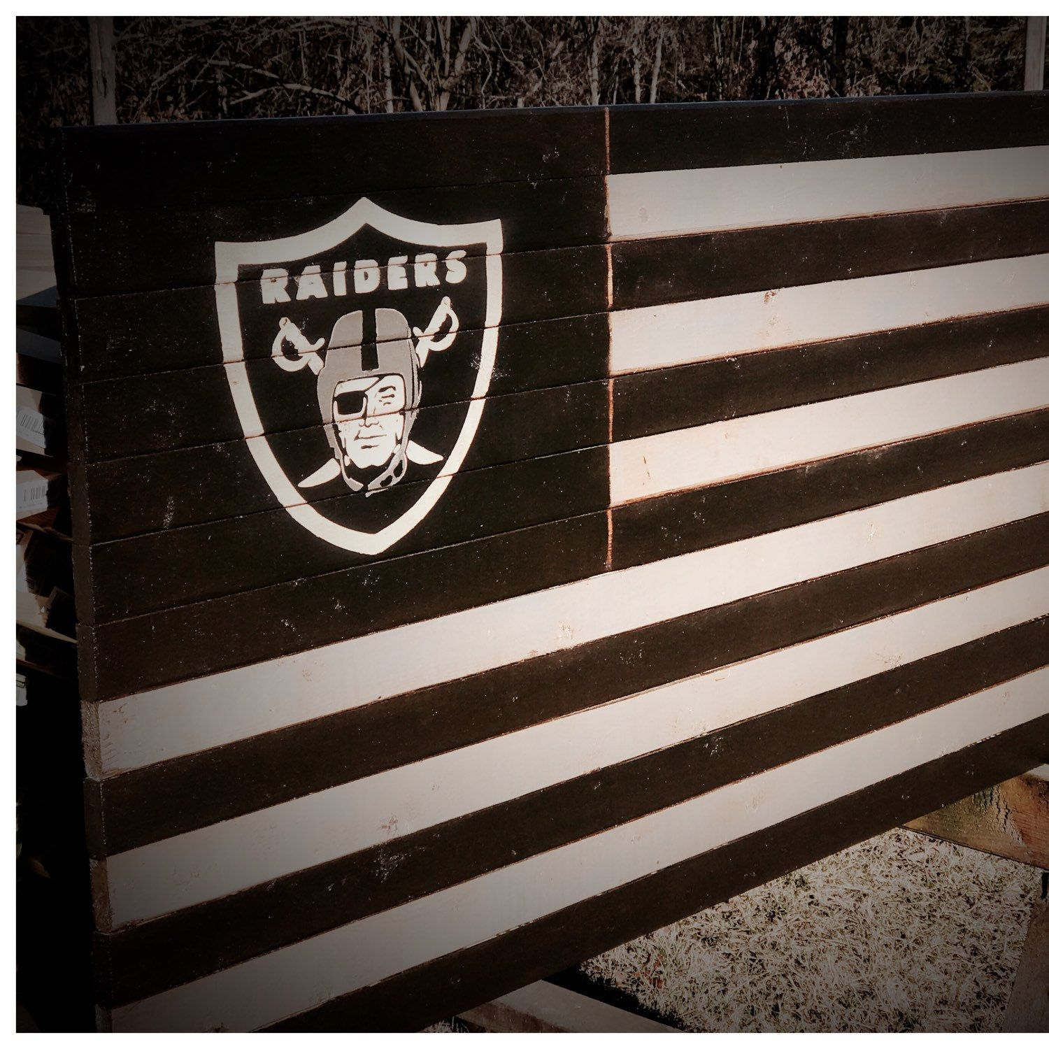 I Have Added A New Oakland Raiders Flag Really Cool Looking Stripes Are Black And Silver With Traditional R American Flag Wood American Flag Art Raiders Flag