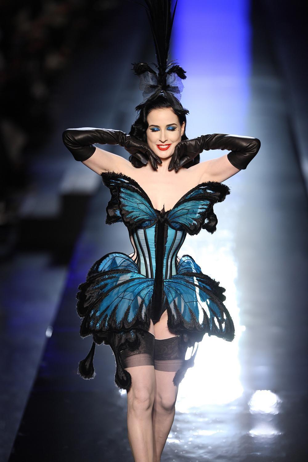 5c2e9722c380 Dita Von Teese closing Jean Paul Gaultier s runway show in a blue butterfly  corset