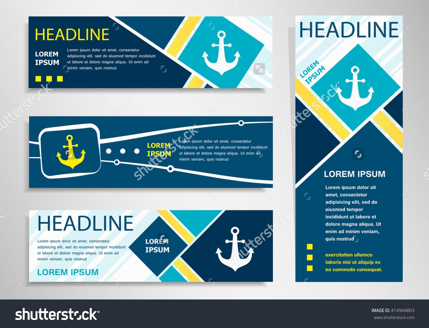 Anchor Icon On Horizontal And Vertical Banner Anchor Abstract