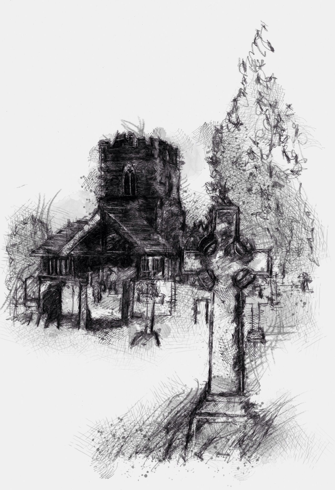 One Of My Sketch A Day Drawings Country Church Drawing