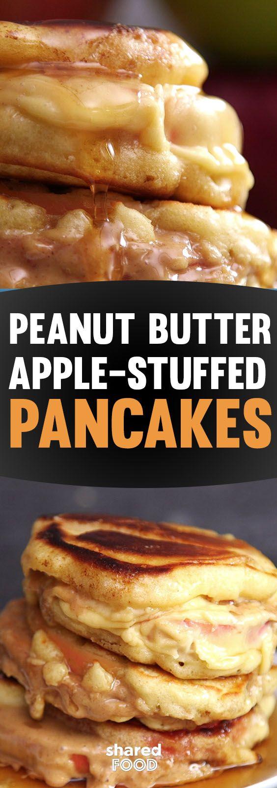 Peanut Butter Apple-Stuffed Pancakes | Egg brunch recipes ...