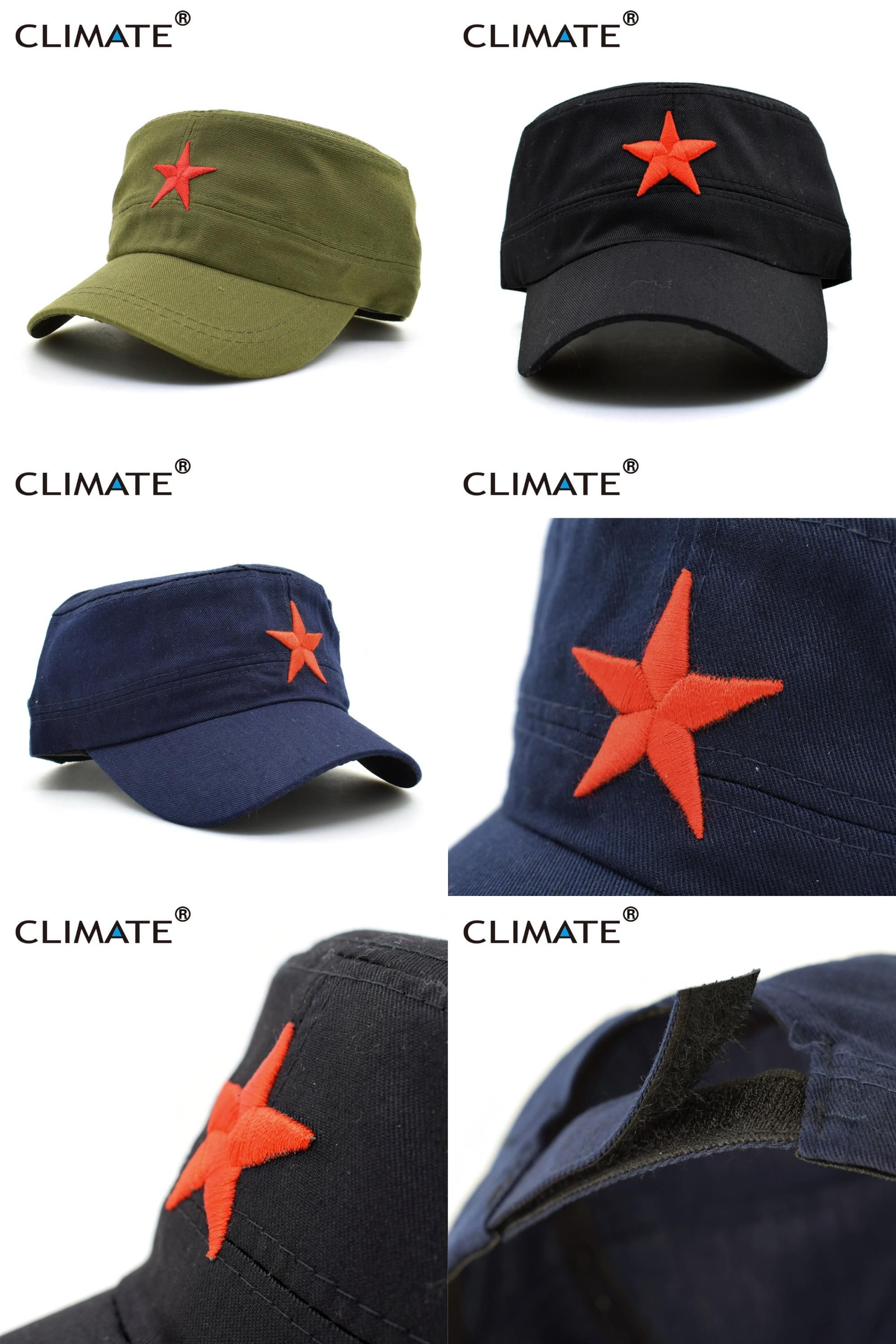 64702c8a3689 [Visit to Buy] CLIMATE 2017 Men Solid Red Star Army Cool Flat Top Caps  China Communist Party Men International Brigades Army Flat Top Hat Caps #  ...