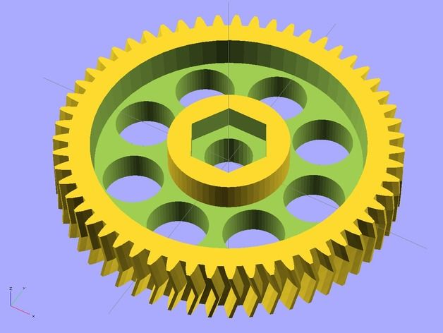 All parametric gear generator in OpenSCAD: Simple tooth (angle_twist