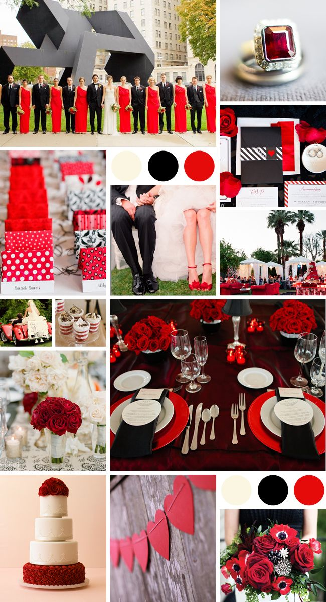 A Dramatic Color Palette In Red Black And White Wedding Stuff