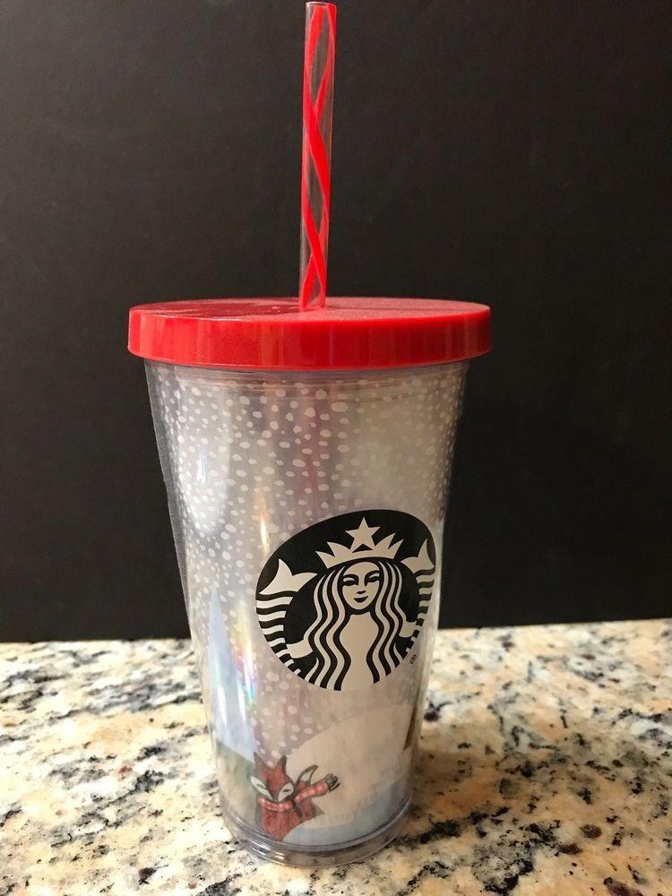 9eb814a49ee NEW Starbucks Original 2016 Red Fox Cold Acrylic Cup Tumbler & Straw 16 oz  NWT #Starbucks