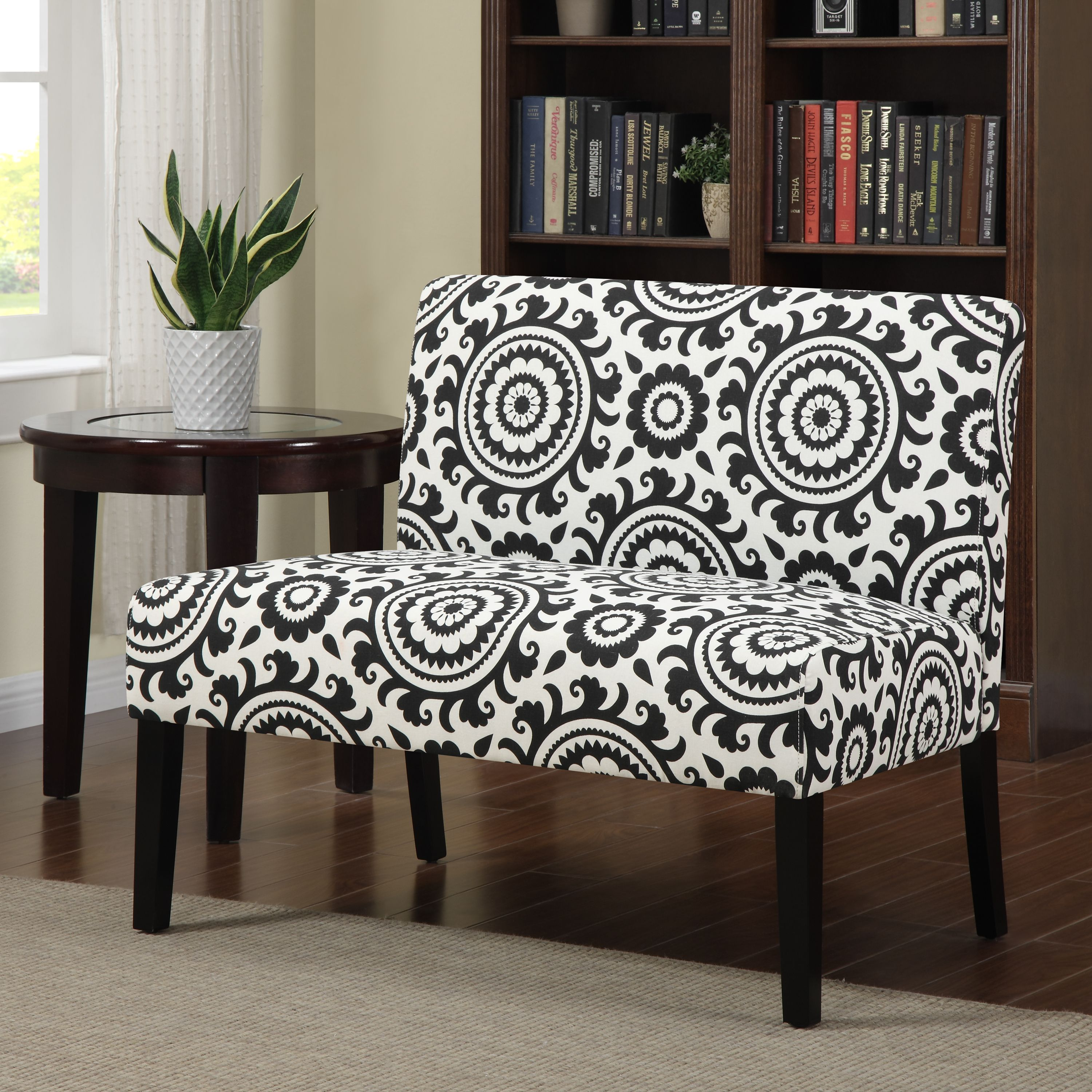 Portfolio Niles Black Medallion Armless Settee | Overstock.com Shopping    The Best Deals On