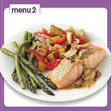 23 easy plate method dinners food menu salmon and mushrooms diabetic food menu seared salmon with mushroom shallot sauce forumfinder Choice Image