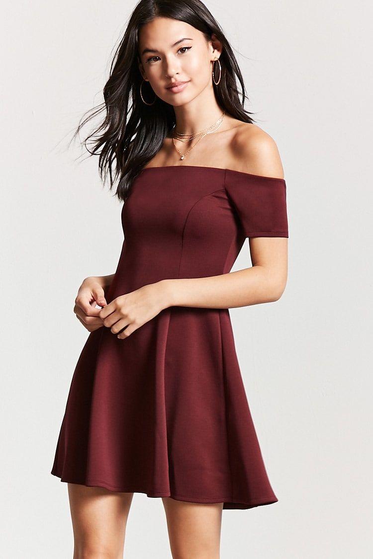 35bffc9142c4 Forever 21 Off-the-Shoulder Mini Dress (Wine