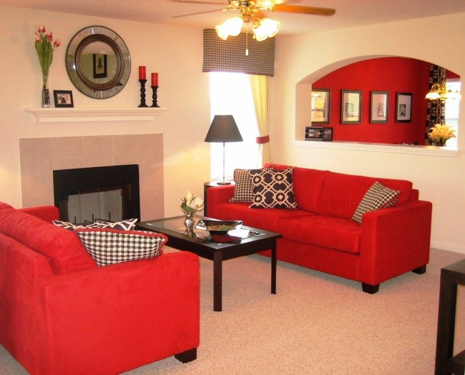 Red Living Room: Decoration Coffee Colour Wall Paint Ideas: Amazing Red