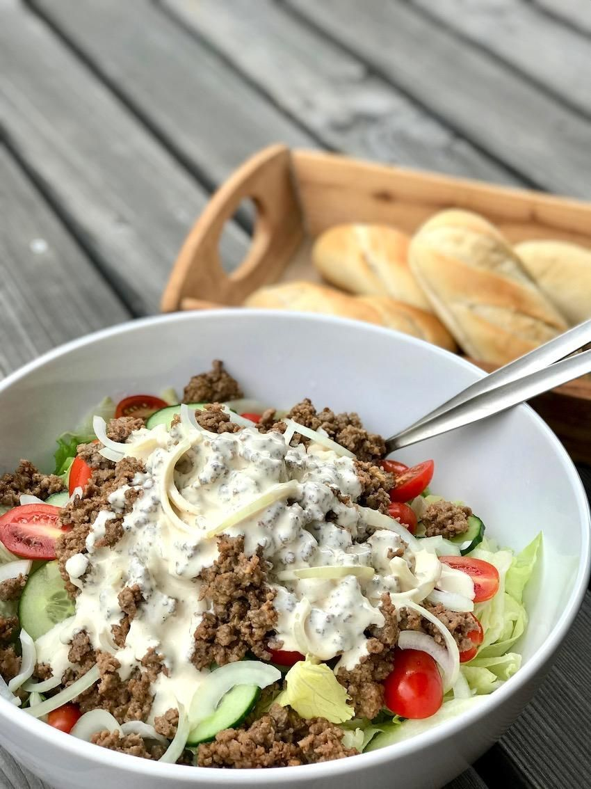 Cheeseburger Salat (low carb) - Kochtheke