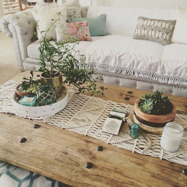 Handwoven Macrame Runner Rustic Farmhouse Living Room Farm