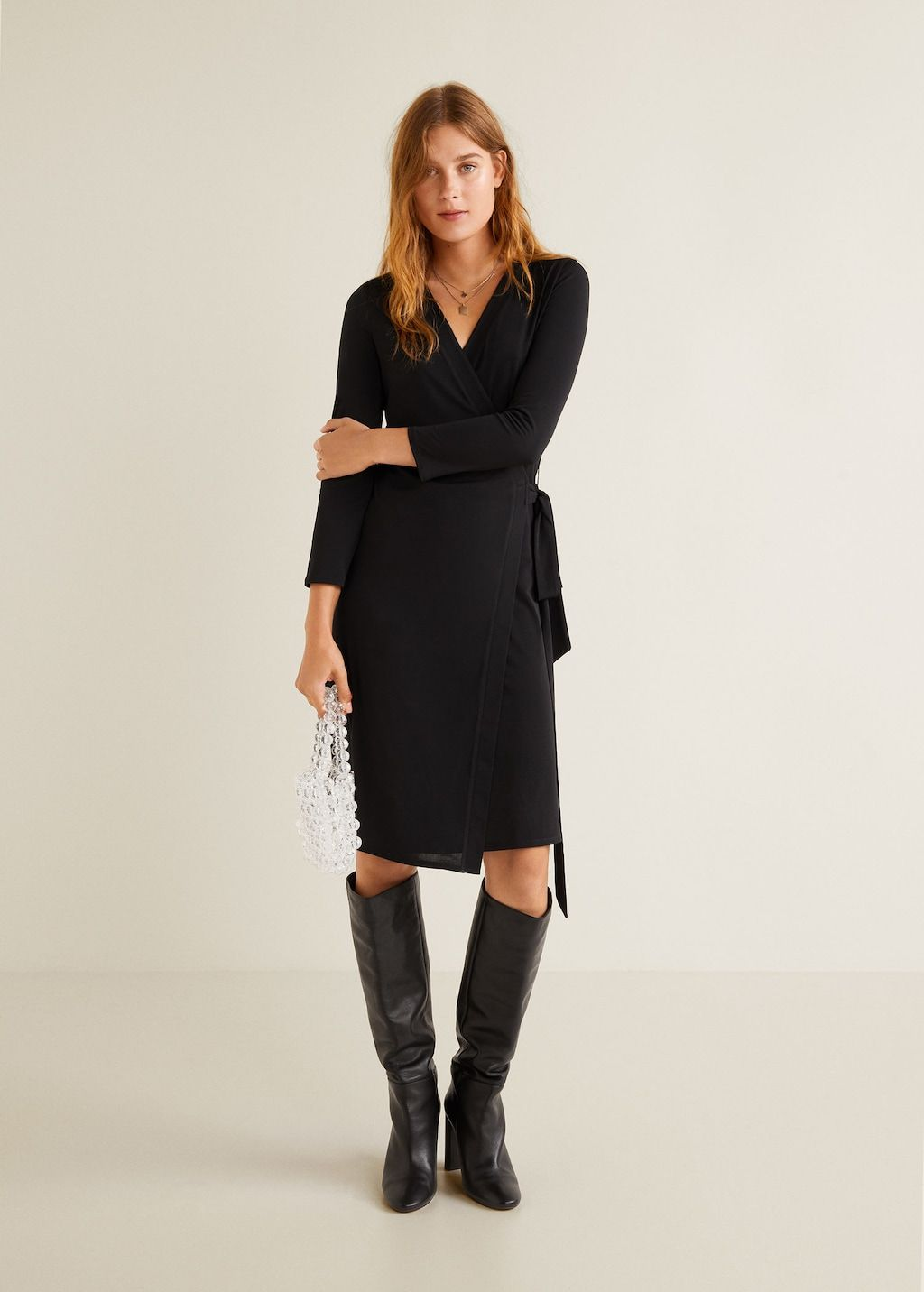 b2341e9cfc73 Φόρεμα κρουαζέ με φιόγκο - Γυναίκα