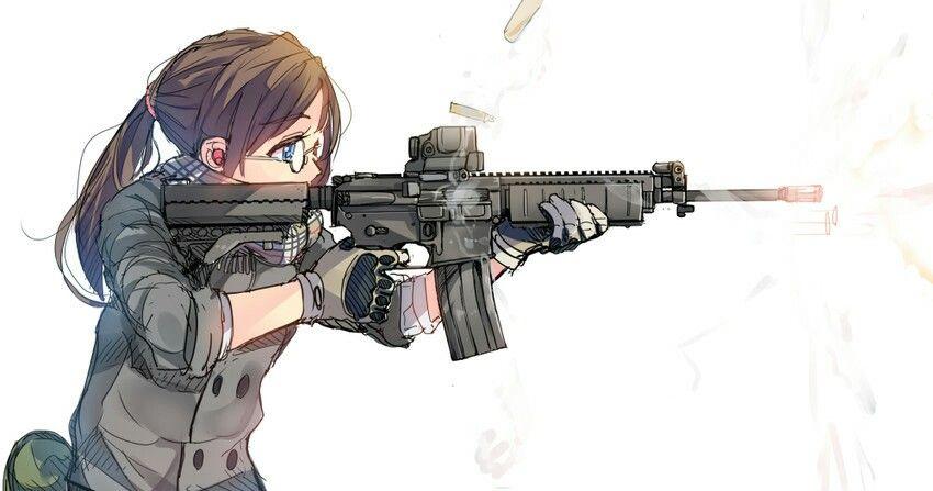 Anime Fantasy Kawaii Characters Female Gunslinger Girl Military Assault Rifle Art Manga