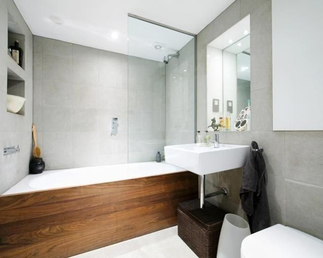 Attractive White And Wood Bathroom Ideas Part - 9: Photo Of Natural Scandinavian Grey White Wood Bathroom