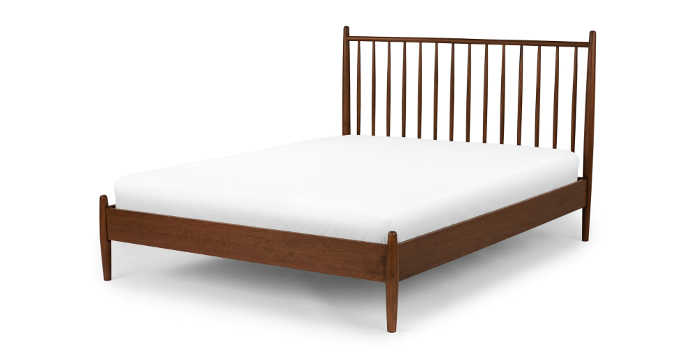 Lenia Walnut King Bed With Images Mid Century Modern Bed King