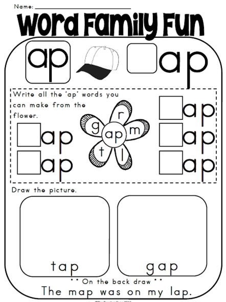 Free 'ap' word family worksheets and literacy center