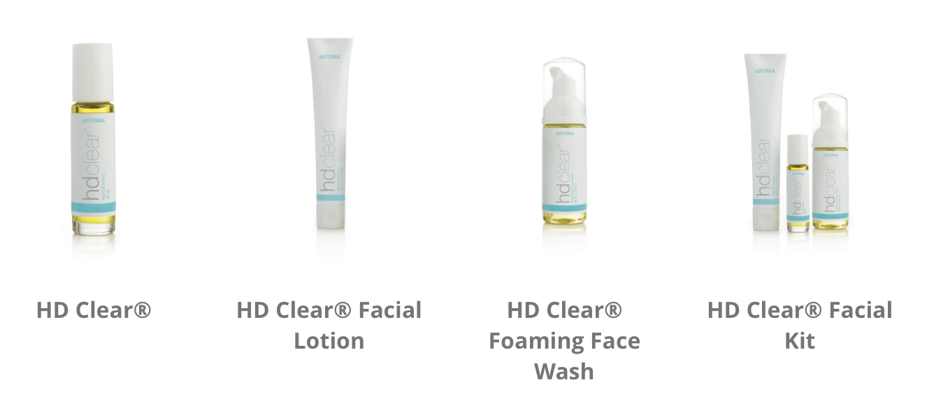 HD Clear is a line of natural and highly effective products that address problem skin at its core. This three step system works synergistically to purge skin of impurities; promote a smooth, clear complexion; and help reduce blemishes. Included in each formula are CPTG Certified Pure Therapeutic Grade® essential oils along with specialized plant extracts proven to improve skin texture and appearance. Using HD Clear every day will result in a clear, smooth, healthy-looking complexion.
