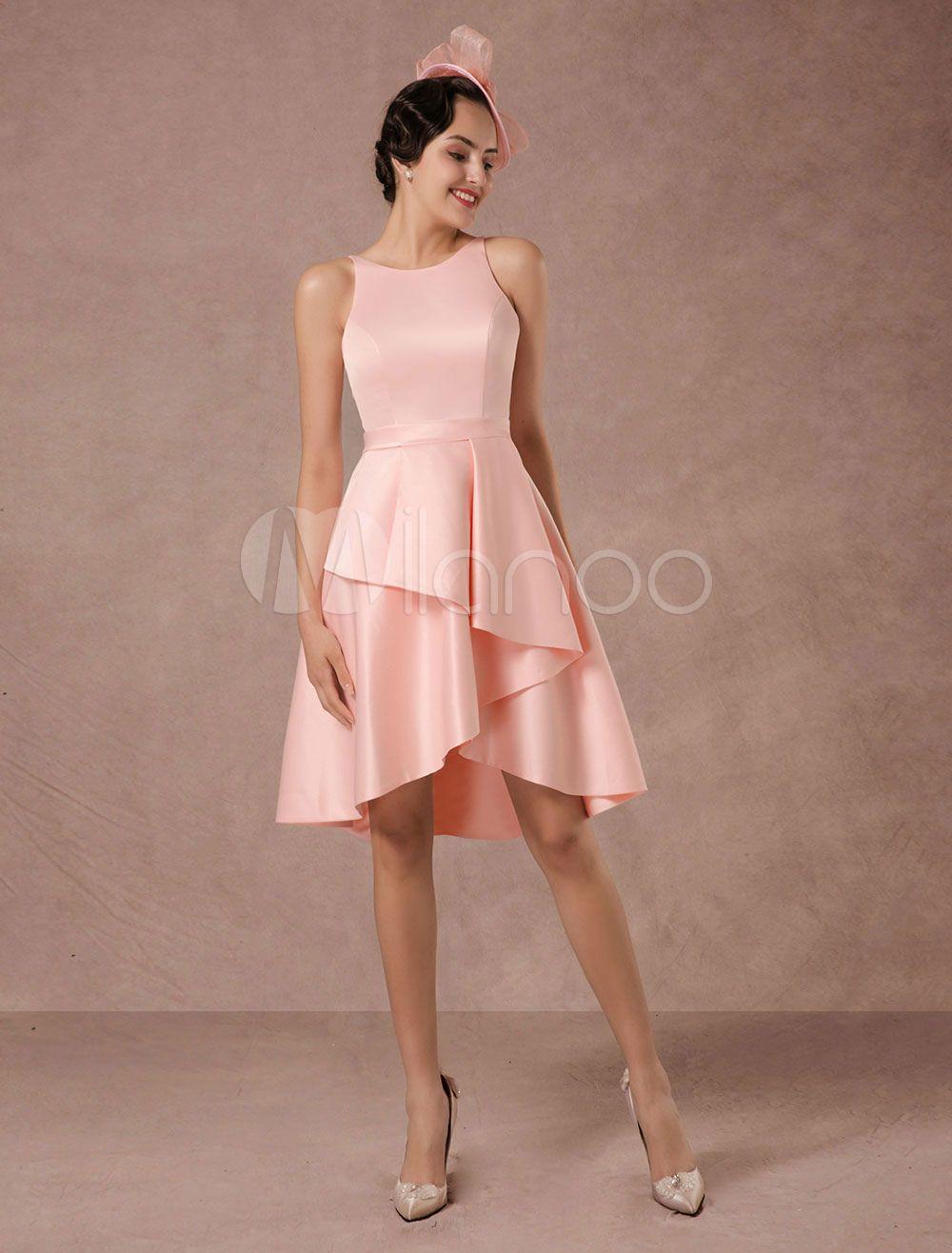 Kurze Hochzeitskleid Rosa Satin Vintage Sommer Brautkleider 2018 A ...