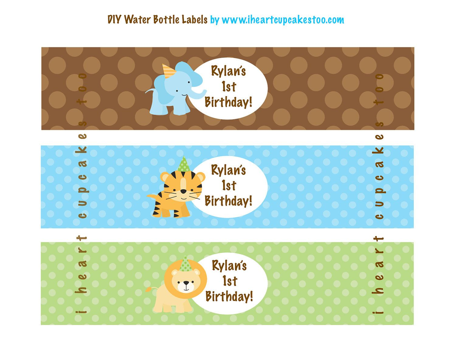 Printable Jungle Safari Water Bottle Labels