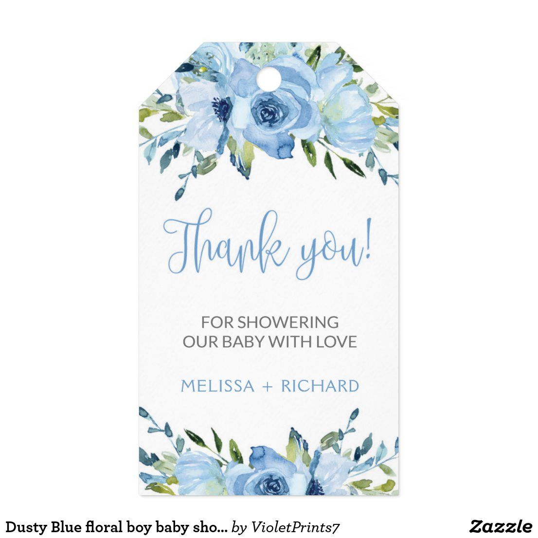 Dusty Blue floral boy baby shower gift tag favor Zazzle