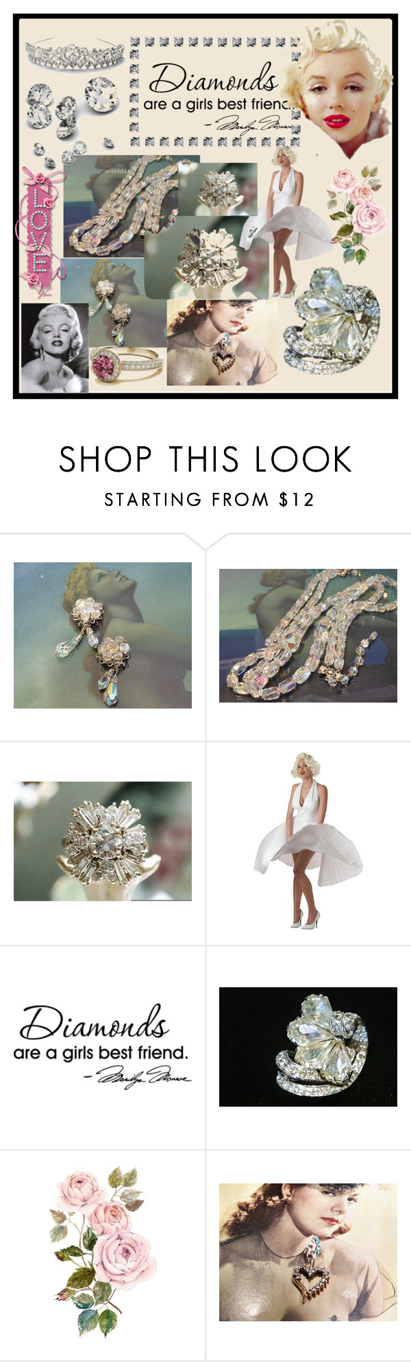 """""""Diamonds Are A Girl's Best Friend"""" by pattysporcelainetc ❤ liked on Polyvore featuring WALL and vintage"""