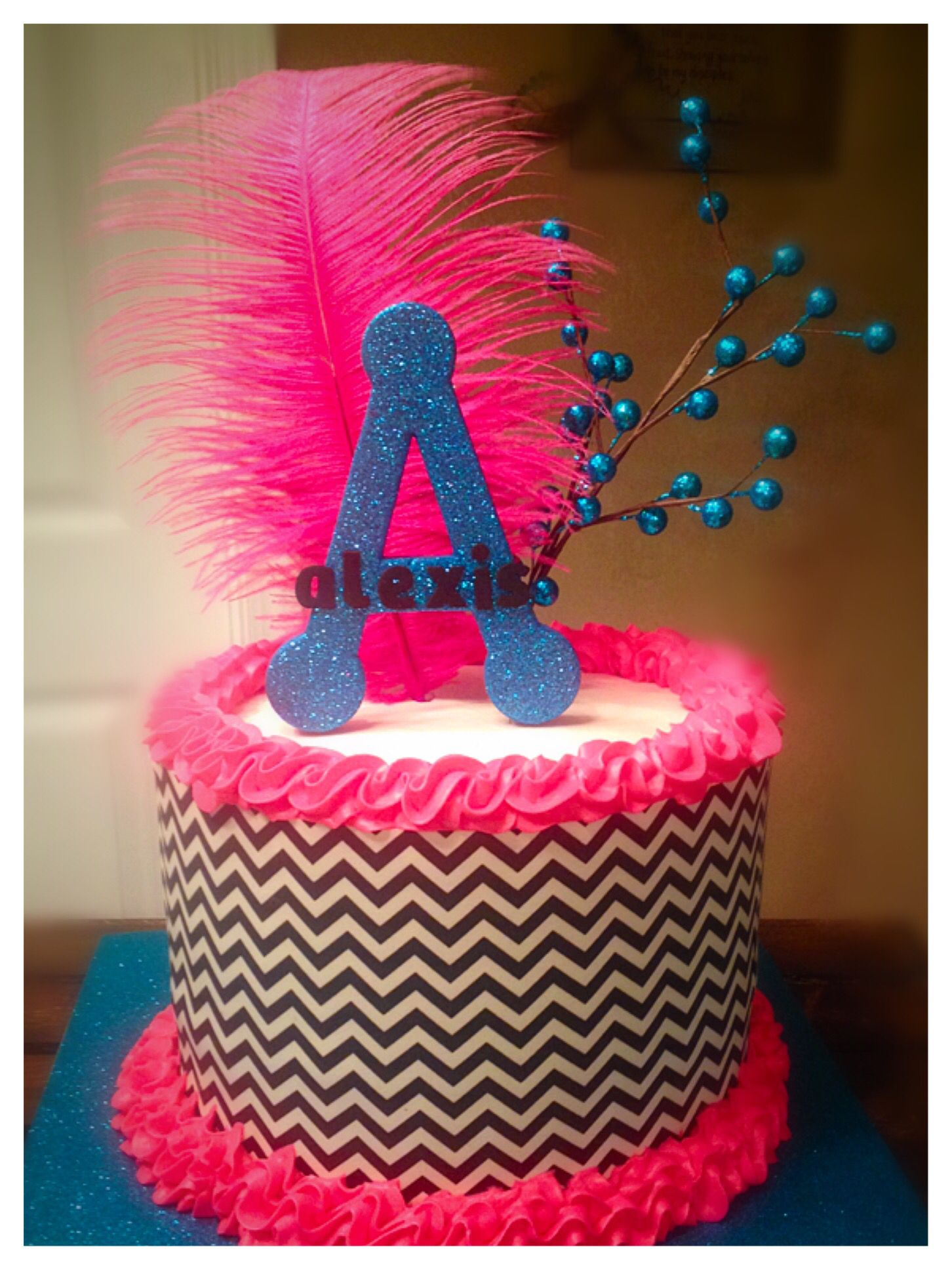 Black white chevron cake with pink and blue accents edible sugar