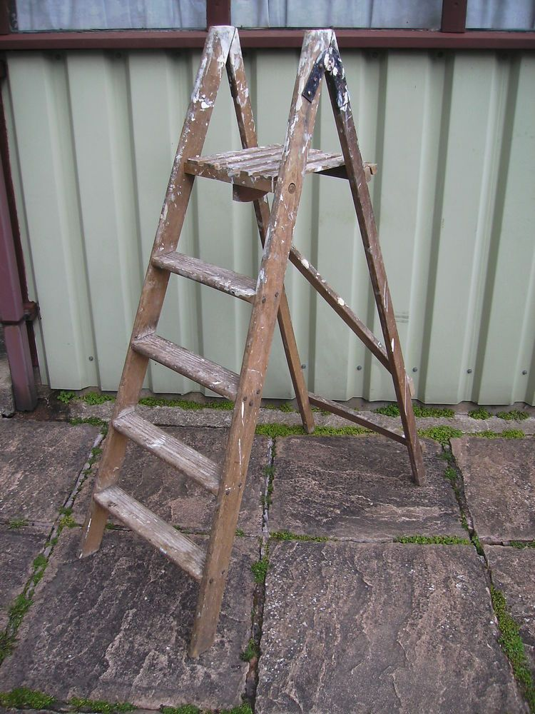 Vintage Wooden Stepladders Step Ladders 4 Tread plus ...