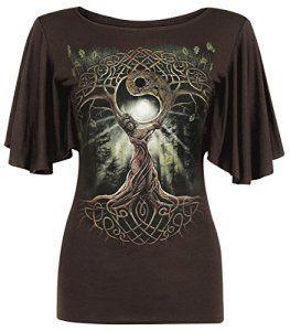 Spiral T-shirt à col bateau et manches courtes amples pour femme Motif  reine des