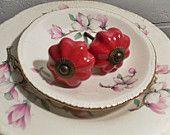 Knobs /Ceramic / Red Dresser Knobs