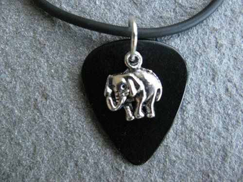 Guitar Pick Necklace with Elephant Charm on Black Pick Unique Design By Atlantic Seaboard Trading Co. by Atlantic Seaboard Trading Co.. $7.99