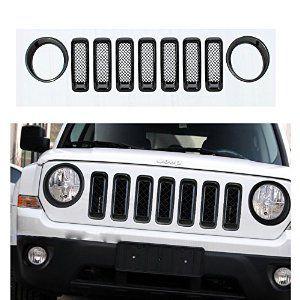 Amazon Com Moonet Chrome Front Grille Mesh Insert Kit Light Lamp Cover Trim For 2011 2012 2013 2014 Jeep Patriot 9pcs Black Autom Jeep Patriot Jeep Patriot Accessories Jeep Cars