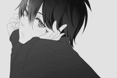 аниме черно белые картинки парни